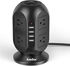 Keedox Power Strip Tower Surge Protector, 8 Outlet 4 USB Ports Electric Charging Station, Multi Plug Outlet with 10Ft Long Extension Cord
