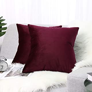 "Best Lewondr Velvet Soft Throw Pillow Cover, 2 Pack Modern Solid Color Square Decorative Throw Pillow Case Cushion Covers for Car Sofa Bed Couch Home Christmas Decor, 18""x18""(45x45cm), Burgundy Review"