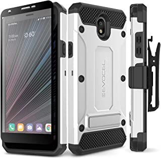 Evocel LG Escape Plus Case Explorer Series Pro with Glass Screen Protector and Belt Clip Holster for LG Escape Plus, Tribute Royal, K30 (2019), Arena 2, X320, Silver