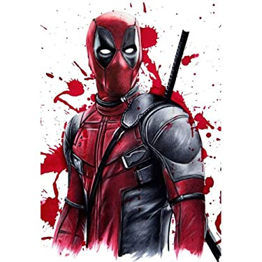 """DIY 5D Diamond Painting Kit, 16""""X12"""" Deadpool Round Full Drill Crystal Rhinestone Embroidery Cross Stitch Arts Craft Canvas for Home Wall Decor Adults and Kids"""