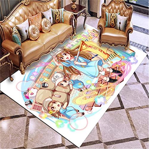 Anime Hataraku Saibou Cells At Work Alfombras Dormitorio Sala De Estar Mesa De Té Sofá Alfombras Antideslizantes Alfombras De Piso Alfombra De Juego para Niños 180X280Cm