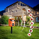 Thanos Solar Power Cat Repeller Ultrasonic Animal Repellent LED Flashing Light Motion Activated to Keep Dog Fox Raccoon Deer Away from Your Garden (Orange)