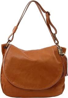 TLBag Soft leather shoulder bag with tassel detail Cognac