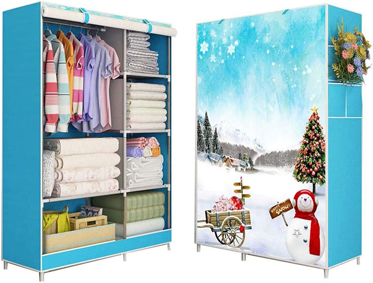 QD- Cloth Wardrobe-Simple Wardrobe Fabric Single Cloth Wardrobe Small Storage Cabinet Student Dormitory Steel Pipe Reinforced Assembly Folding Cloth Cabinet (color   B)