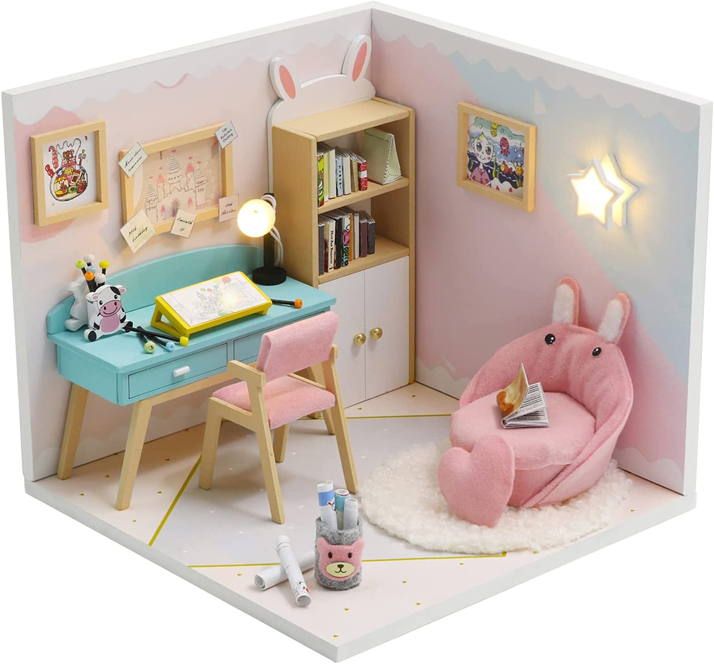 HETOMI DIY Dollhouse Import Quantity limited Miniature Kit Furniture Mini with Wooden R