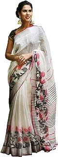 Lajree Designer Women's Digital Printed Linen Cotton Saree with Unstitched Blouse(Linen MS)