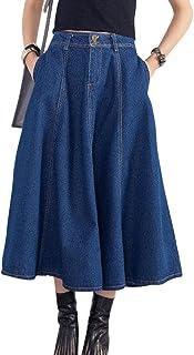 6e82db5e82b3a4 Donna Gonna di Jeans Lunga Vita Alta A-Line Abito Jeans Denim Gonna