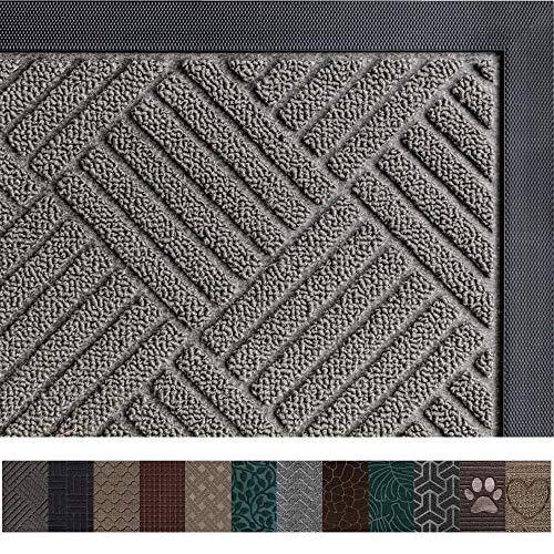 Gorilla Grip Original Durable Rubber Door Mat, Heavy Duty Doormat for Indoor Outdoor, Waterproof, Easy Clean, Low-Profile Rug Mats for Entry, Garage, Patio, High Traffic Areas (29 x 17, Gray: Diamond)