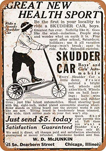 Yilooom Retro Vintage Metal Signs Novelty Wall Plaque Wall Art Decor Accessories Gifts - 1915 Speedy Skudder Car Scooter - 12