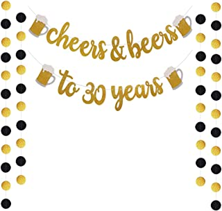Trgowaul Cheers & Beers to 30 Years Gold Glitter Banner for 30th Birthday Wedding Anniversary Party Decorations Pre Strung & Ready to Hang
