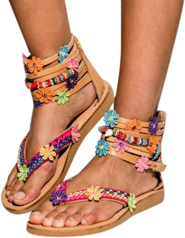 Sandals for Women Roman Handmade Flowers Sandals Zipper Round Toe Flat Retro Herringbone Sandals(41, Brown)