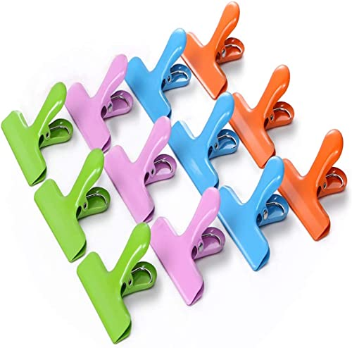 Croc Jaws® 12 Pack Bag Clips Stainless Steel Large 76 mm Wide 4 Colours Heavy-Duty chip Clips Airtight Seal for Food ...