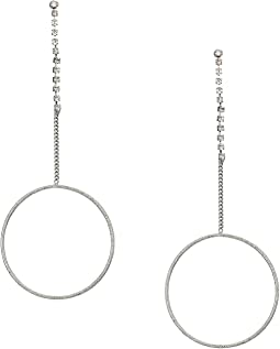 Dainty Ring on Stone Chain Linear Earrings