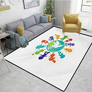 Youth Runner Rug for Hallway Cute Children Silhouettes Around The World with Pigeon Symbol of Peace Earth Planet Room Carpet Multicolor Area 4'x6'