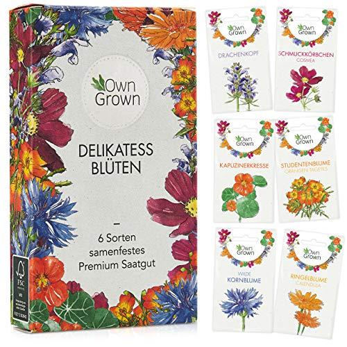 Essbare Blumen Samen Set: Premium Delikatess Blüten Blumensamen Set mit 6 Sorten Blumen Saatgut – Essbare Blüten Samen – Essbare Blumen für Torte – Essbare Blüten Tortendeko Blumen Essbar von OwnGrown