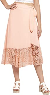 Martini Women Georgette Latest Lace Wrap Long Party Skirt for Women (Light Pink, 28 – 34)