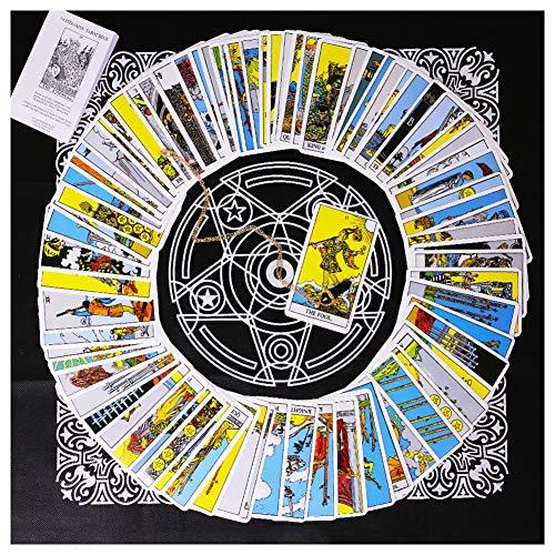 3 otters Tarot Card Deck, Tarocchi Tarotology Universal Waite Tarot Divination, A Divining Tablecloth with A Spirit Pendulum , 3PCS