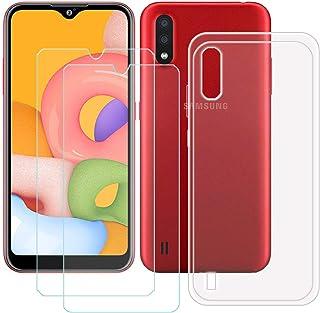 TTJ Transparent skal för Samsung Galaxy M01S + [2 st] HD pansarglas, mobiltelefonfodral silikon skyddsskal TPU Case mobilv...