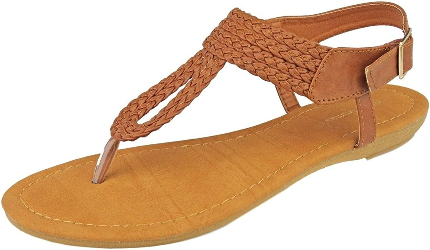 Pierre Dumas Women's Lydia-4 Vegan Leather Braided Adjustable Ankle Strap Thong Flats Sandals