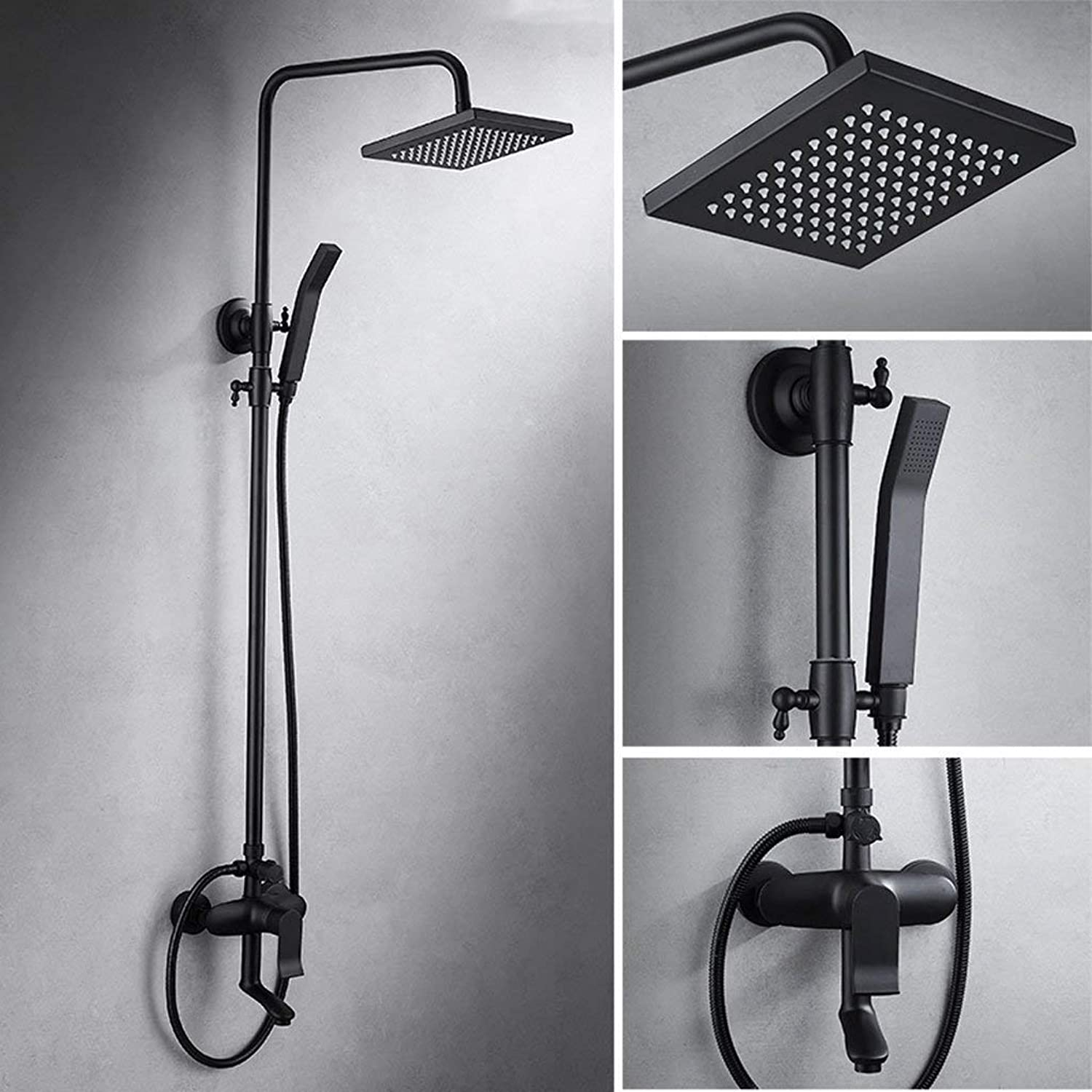 Rain Bathroom Shower Set Faucet Black Bronze Dual Handle Shower Hot And Cold Taps With Handshower