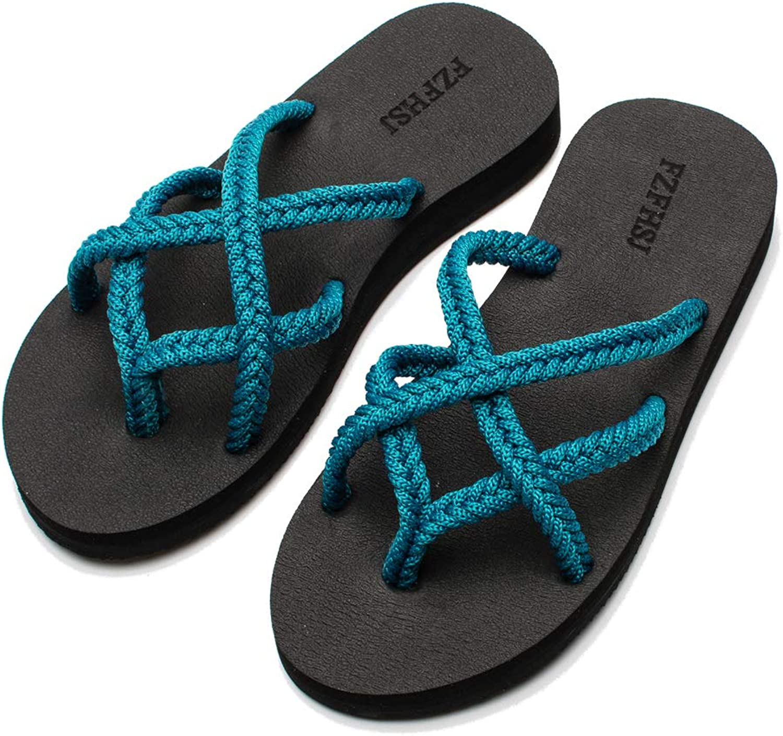 FZFHSJ Flip-Flops Summer Beach Braided Strap Sandal