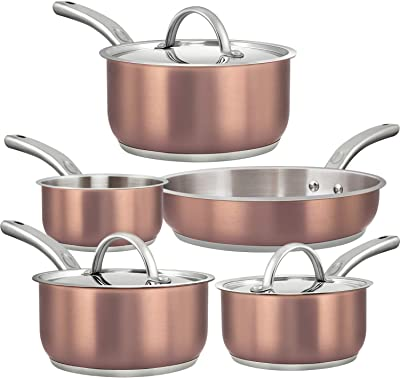 Dealz Frenzy Induction Cookware Set,Cooking Pot and Pan Set,Tri-Ply Stainless