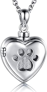 925 Sterling Silver Cremation Jewelry for Pet Ash - Heart Locket Memorial Pendant Paw Print Urn Necklace for Dog Cat Women Remembrance Keepsake Gift for Loss of Loved Furry Friend