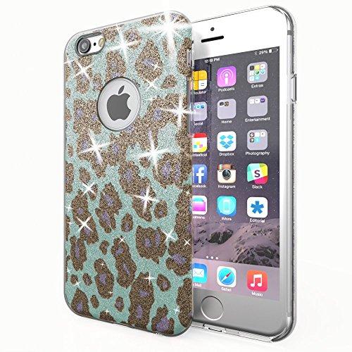 NALIA Purpurina Funda Compatible con iPhone 6 6S, Carcasa Protectora Movil Silicona Ultra-Fina Glitter Leopardo Gel Bumper, Lentejuela Cubierta Delgado Back-Cover Smart-Phone Case - Turquesa A