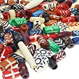 Fun-Weevz 120 PCS Ox Bone Beads for Jewelry Making Adults, Large Natural Indian Bead Supplies, Native American and African Beads, Bulk Assorted Craft Buffalo Bone Hairpipe Beads