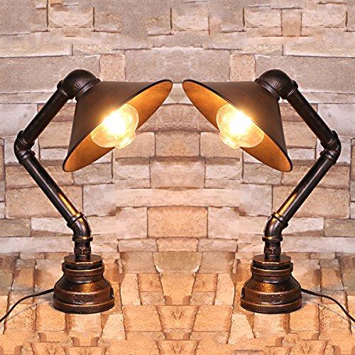 """2x Modern Industrielle Metall Rohr Retro Tischlampen Schreibtischlampen, MOTENT Vintage Stil Retrolampe 8,66"""" Breite Tischleuchte Water Pipes Steampunk Design für Bedside Desk Bar Küche"""