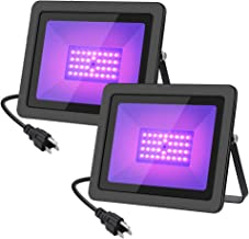 WELKEY PLUS 2 Pack 50W UV LED Black Light Flood Light with Plug(6ft Cable), IP66 Waterproof, for Blacklight Party, Stage Lighting, Aquarium, Body Paint, Fluorescent Poster, Neon Glow, Glow in The DAR