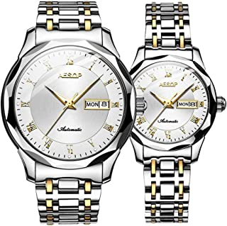 Aesop Men Women Couple Luxury Analog Japanese Automatic Self Winding Mechanical Day Date Wrist Watch Set with Tungsten Steel Band Luminous Silver Gold White