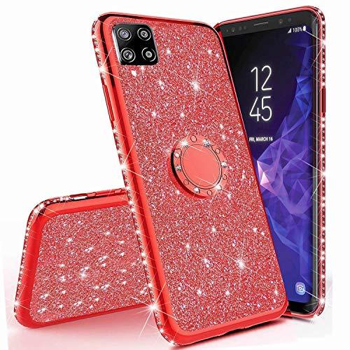 Miagon Hülle Glitzer für Samsung Galaxy A42,Glänzend Mädchen Frauen Weich Silikon Handyhülle mit Strass Diamant 360 Grad Ständer Schutzhülle Etui Cover