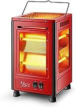 HM&DX Infrarrojo Eléctrico Cuarzo Calentador,Silenciosa Radiante Calentador Estufa 2 Ajustes de Calor 5 Lados climatizadas Bajo Consumo Estufa halógena para Inicio Oficina Barbacoa-Rojo L
