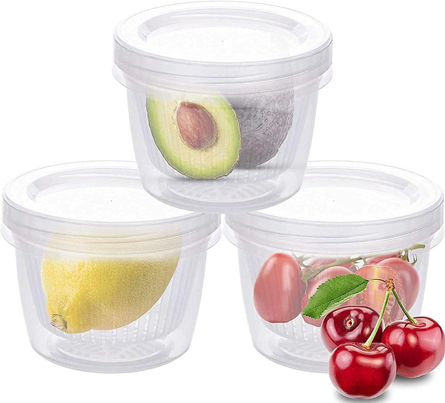 Food Fruit Vegetable Storage Container, (3-Pack) Avocado Lemon Tomato Chili Onion Keeper/Saver/Holder with Removable Drain Plate+Lids, Stackable Portable Freezer kitchen Organization Gadgets