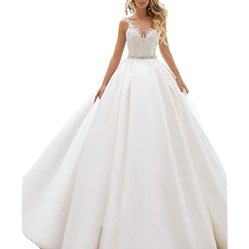 35d39fe774e3 Nicefashion V Neck Lace Straps Ball Gown Satin Wedding Dress with Beaded  Belt