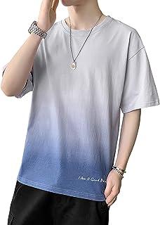 SUPFANSグラデーションカラー Tシャツ メンズ 半袖 大きいサイズ カットソー 通気性 夏服 丸首 ゆったり 5分袖 tしゃつ ユニセックス