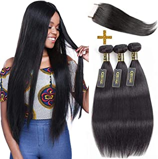 QTHAIR 10A Indian Straight Hair Bundles with Closure(14 16 18+12 inch 130% Density Swiss Lace) Indian Virgin Human Hair Natural Black 100% Unprocessed Straight Virgin Hair Bundles with Closure