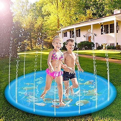 Splash Play Mat - Alfombrilla para rociar agua, 170 cm, juguete de agua para jardín, para bebés, niños, perros y mascotas (azul)