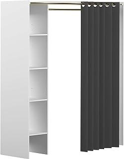 Marque Amazon -Movian Arga - Penderie, 123/160x50x182cm (longueurxprofondeurxhauteur), Blanc et rideau gris foncé