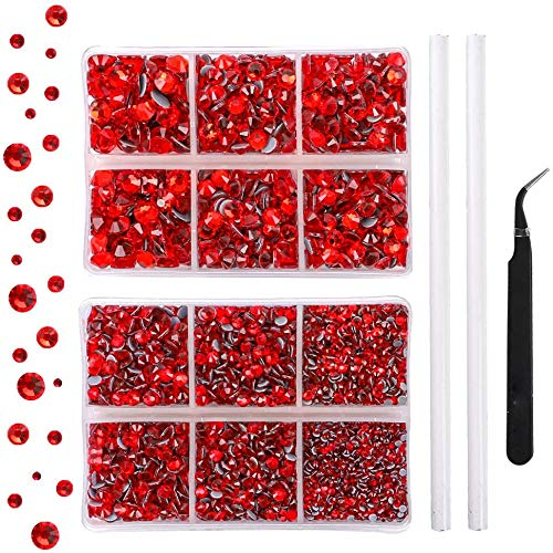 Outuxed 5040pcs Red Hotfix Rhinestones 6 Mixed Size Crystal Flatback Rhinestones for Crafts Round Glass Gems with Tweezers and Picking Rhinestones Pen 2-6.5mm