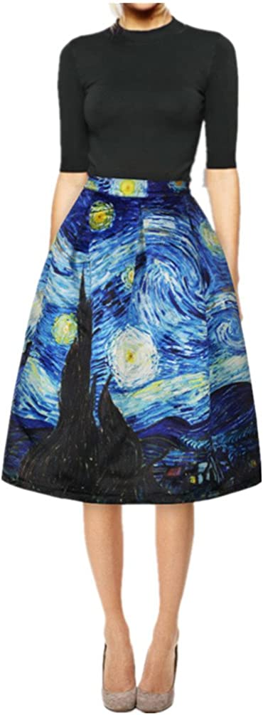 Women's Digital Print High Waisted Kansas City Mall S A-Line Al sold out. Vintage Midi Pleated