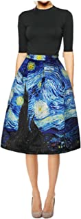 Women's Digital Print High Waisted A-Line Pleated Vintage Midi Skirts