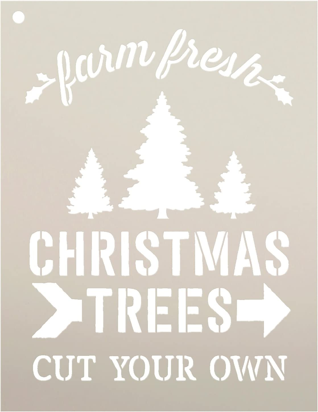 """Farm Fresh Christmas Trees Stencil by StudioR12 