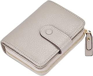 LUCKYSGY Wallets for Women RFID Blocking Leather Bifold Small Wallet Zipper Purses Card Holder with ID Window 7053 Grey