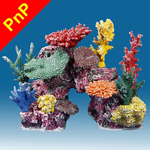 Instant Reef DM048PNP Large Artificial Coral Inserts Decor, Fake Coral Reef Decorations for Colorful Freshwater Fish Aquariums, Marine and Saltwater Fish Tanks