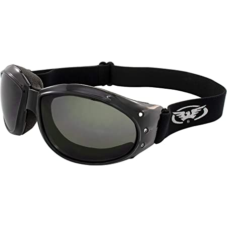 3 Pairs of Global Vision Eliminator Padded Motorcycle Goggles Black Frames Clear Smoke /& Driving Mirror Lenses