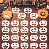 24 Pieces Halloween Pumpkin Faces Stencil Plastic Pumpkin Drawing Templates Pumpkin Pattern Stencils Reusable Face Art Stencils for Pumpkin Carving DIY Painting Crafting