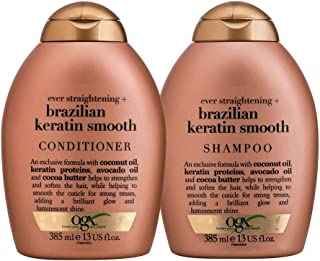 Shampoo OGX Brazilian Keratin Smooth 385ml e Condicionador OGX Brazilian Keratin Smooth 385ml