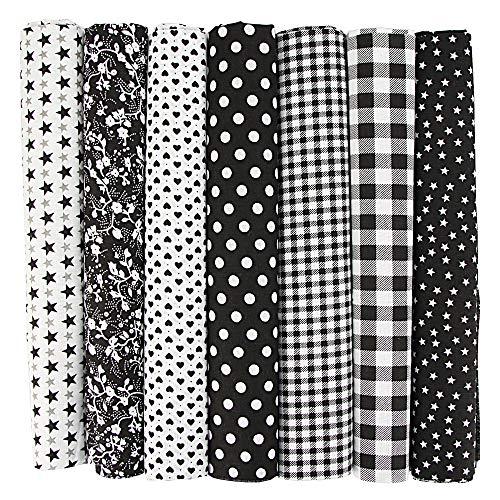 INFEI 7PCS 50 x 50 cm cuadrados tela de algodón para manualidades paquete DIY Patchwork Quilting costura Scrapbooking Artcraft (Negro)